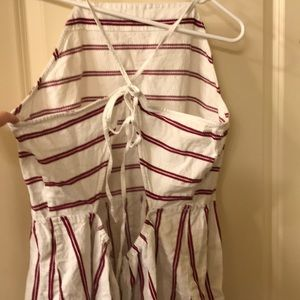 White sun dress with red stripes